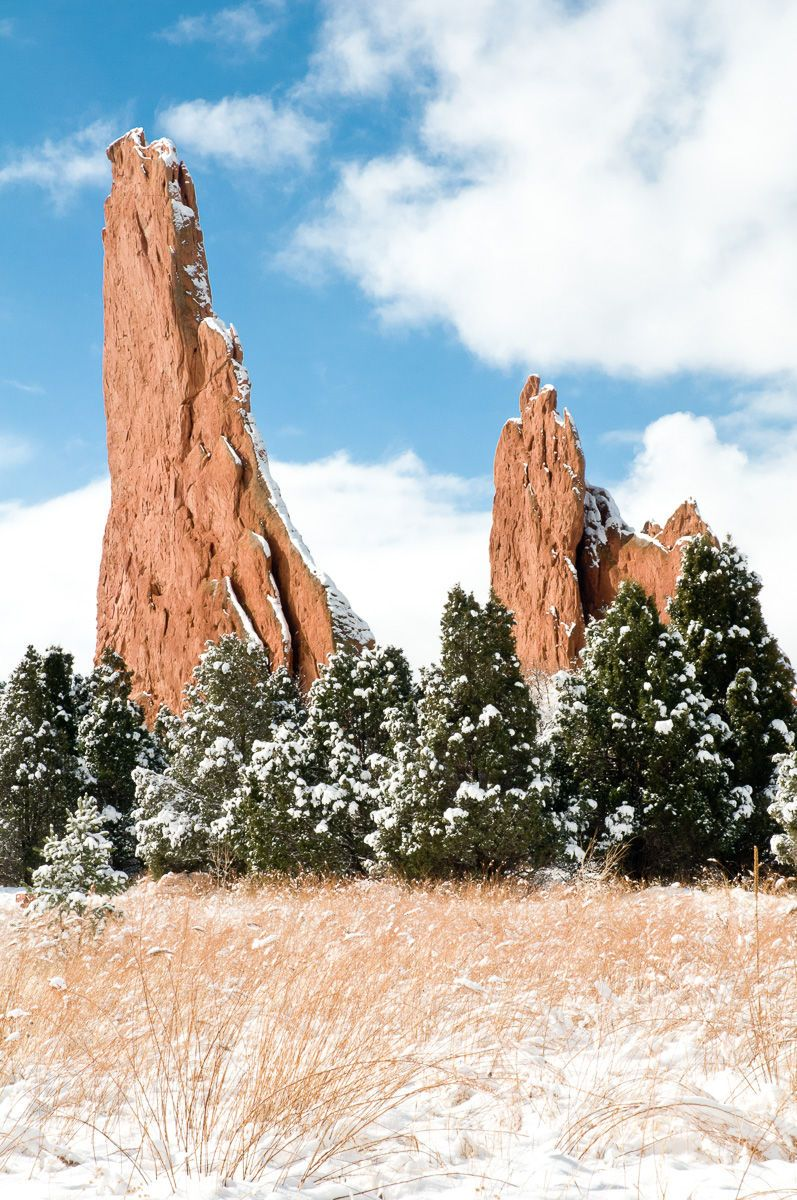 Clearing Snow Storm on Rock Towers and Grass Garden of the Gods National Natural Landmark