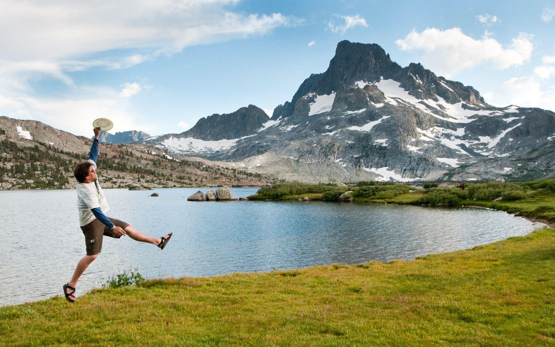 Man Playing Frisbee at Thousand Island Lake