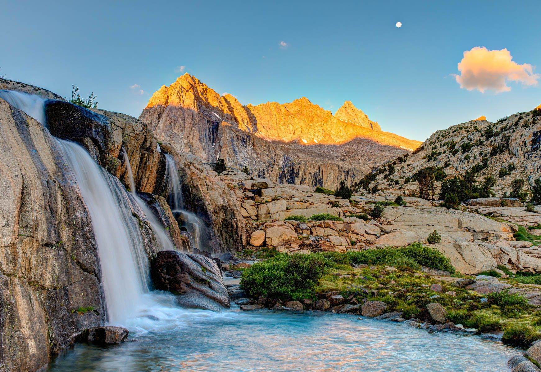 Picture Peak and Moonlight Falls under a Full Moon