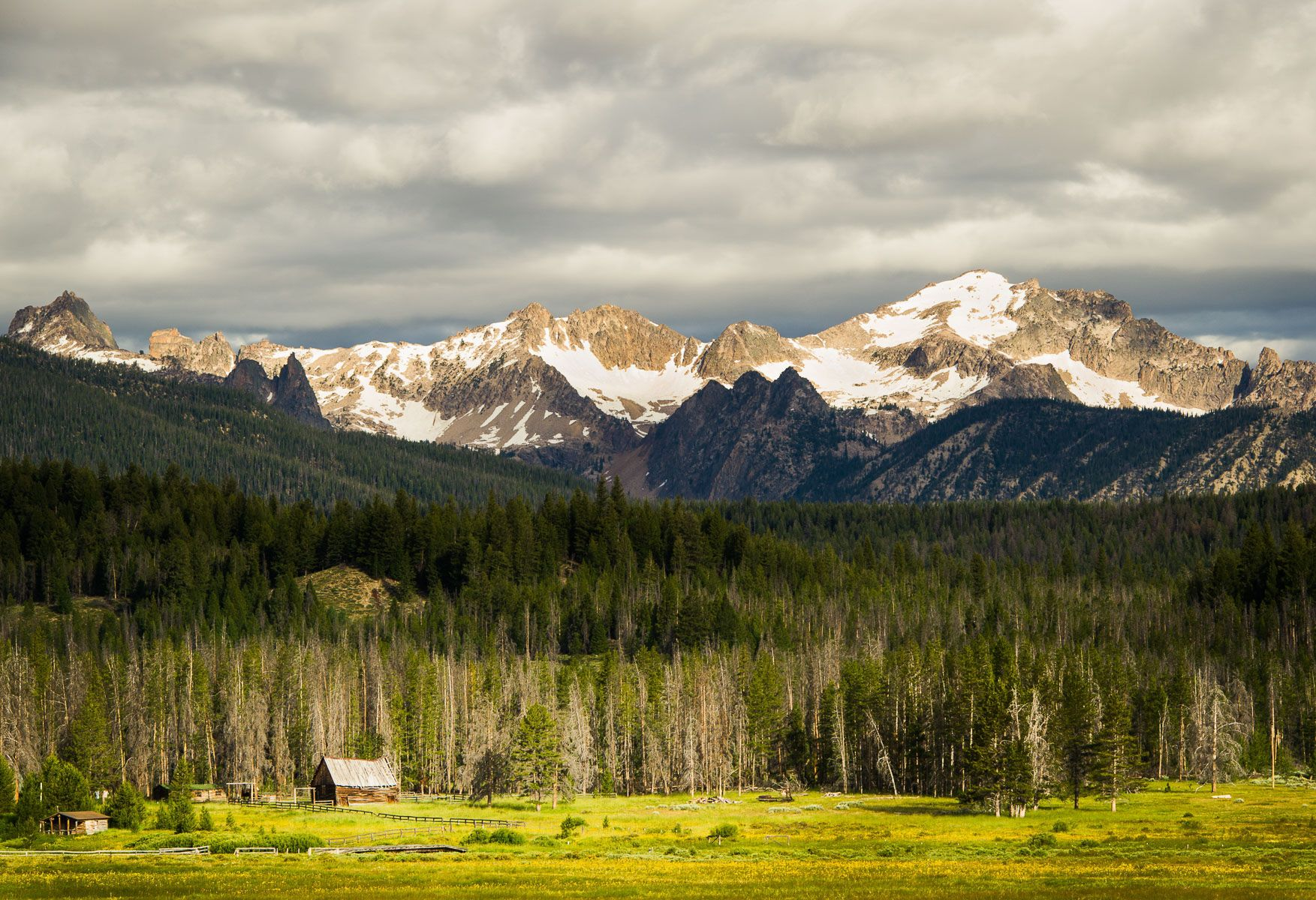 Old barn with Sawtooth Mountains