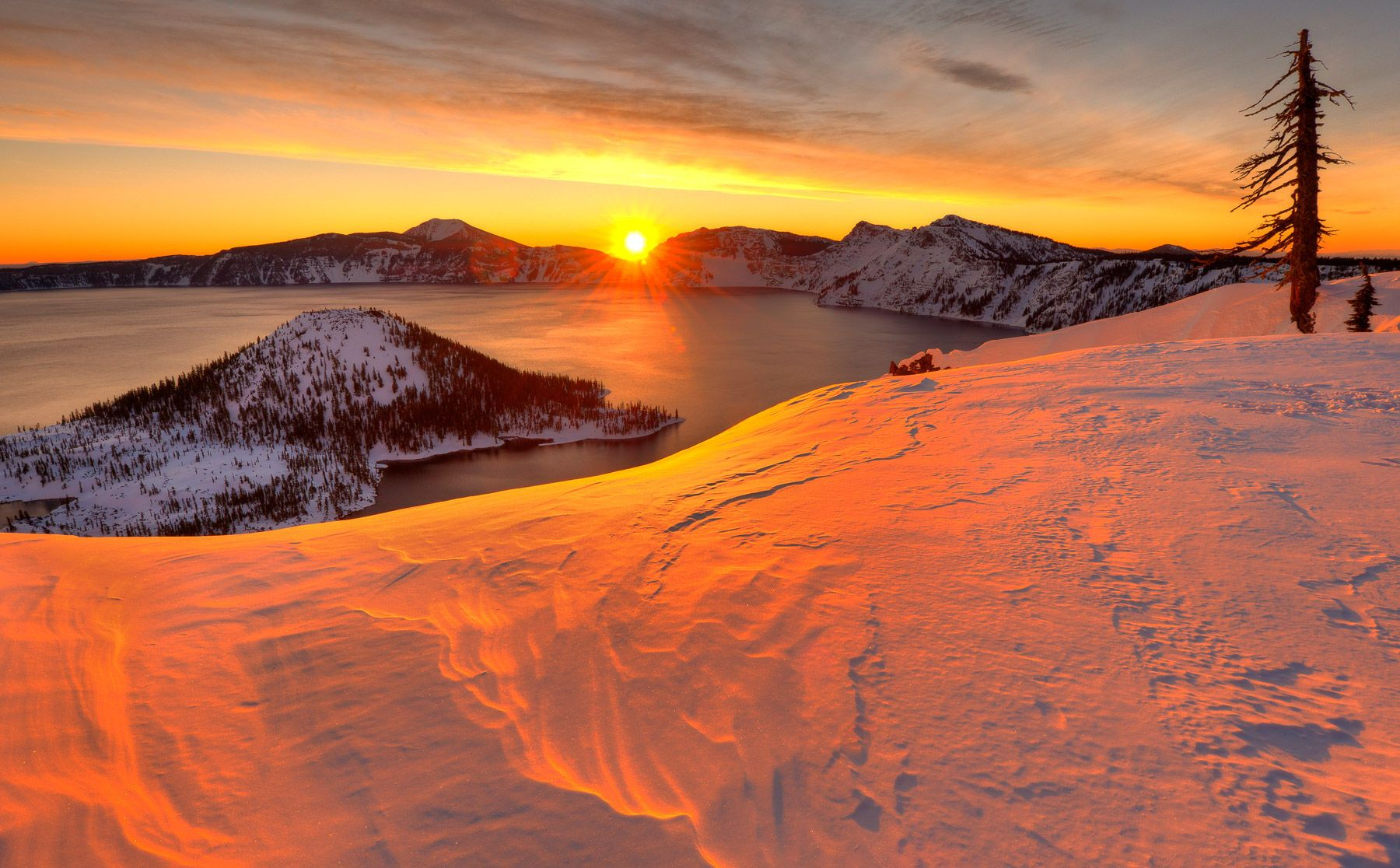 Winter Sunrise and Wizard Island