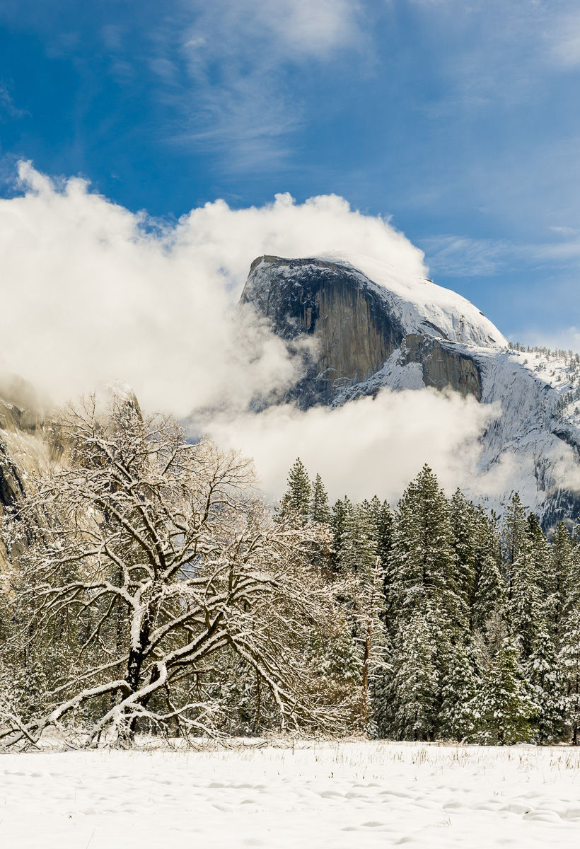 Half Dome in the midst of a Clearing Snow Storm