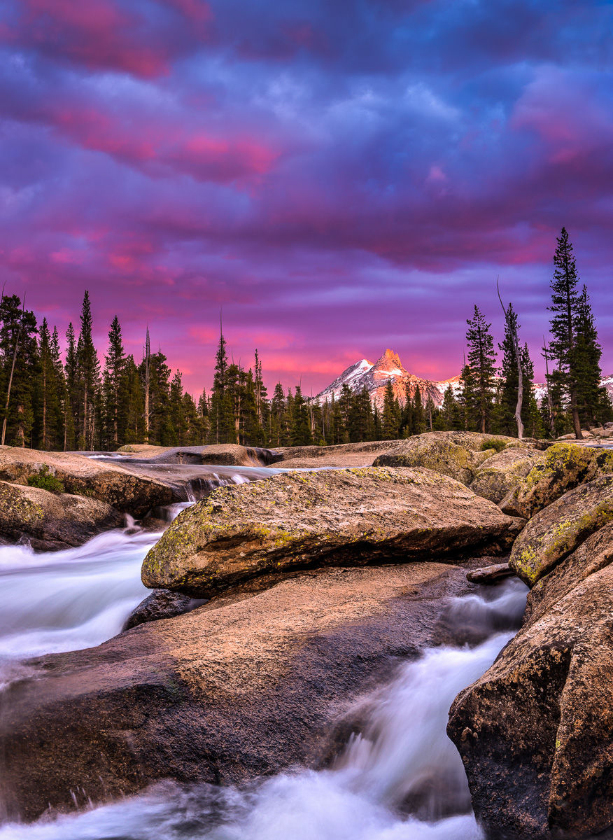Stormy Sunset over Unicorn Peak along the Tuolumne River