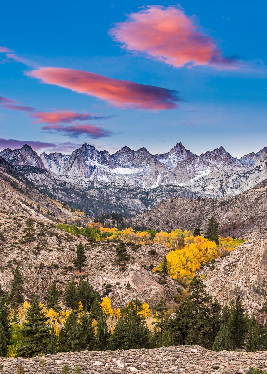 Fall Eastern Sierra Sunrise with Glowing Clouds and Aspen