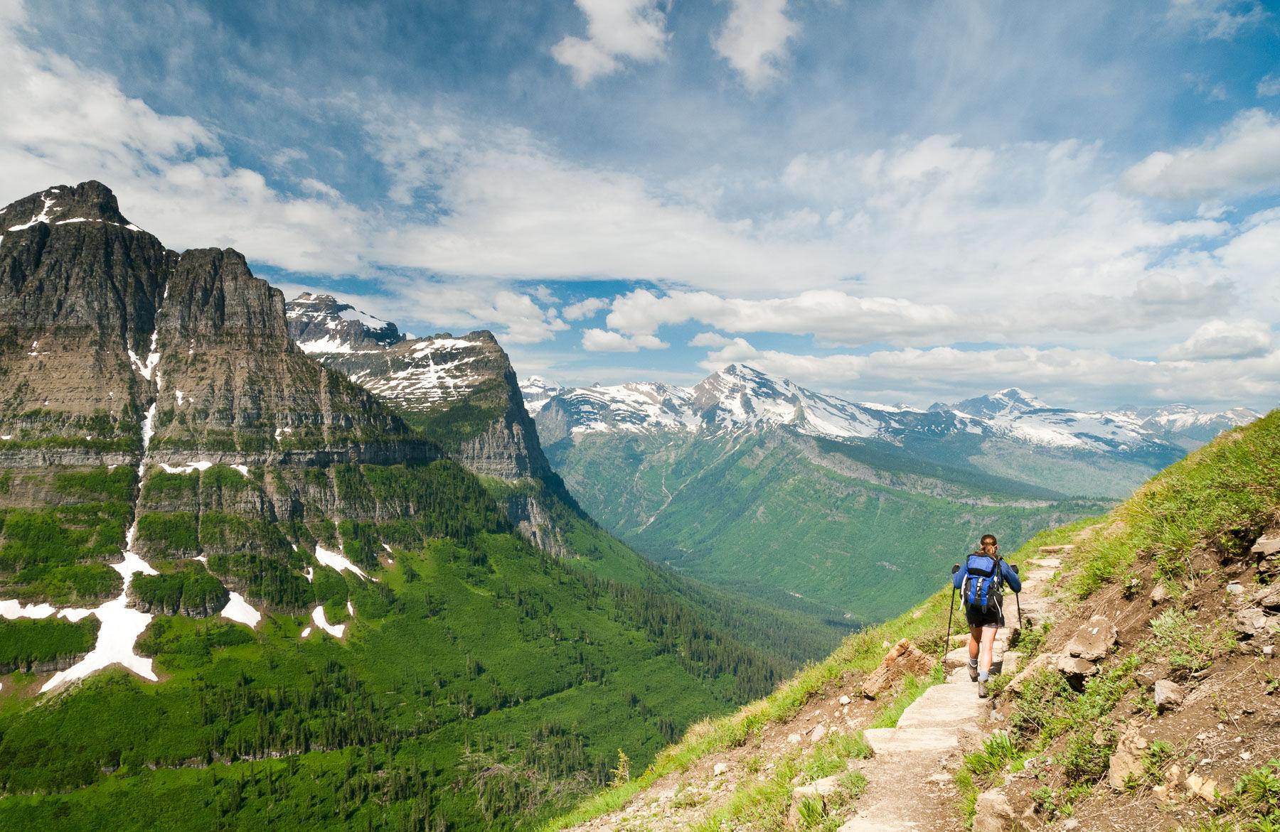 Hiker long the Highline Trail