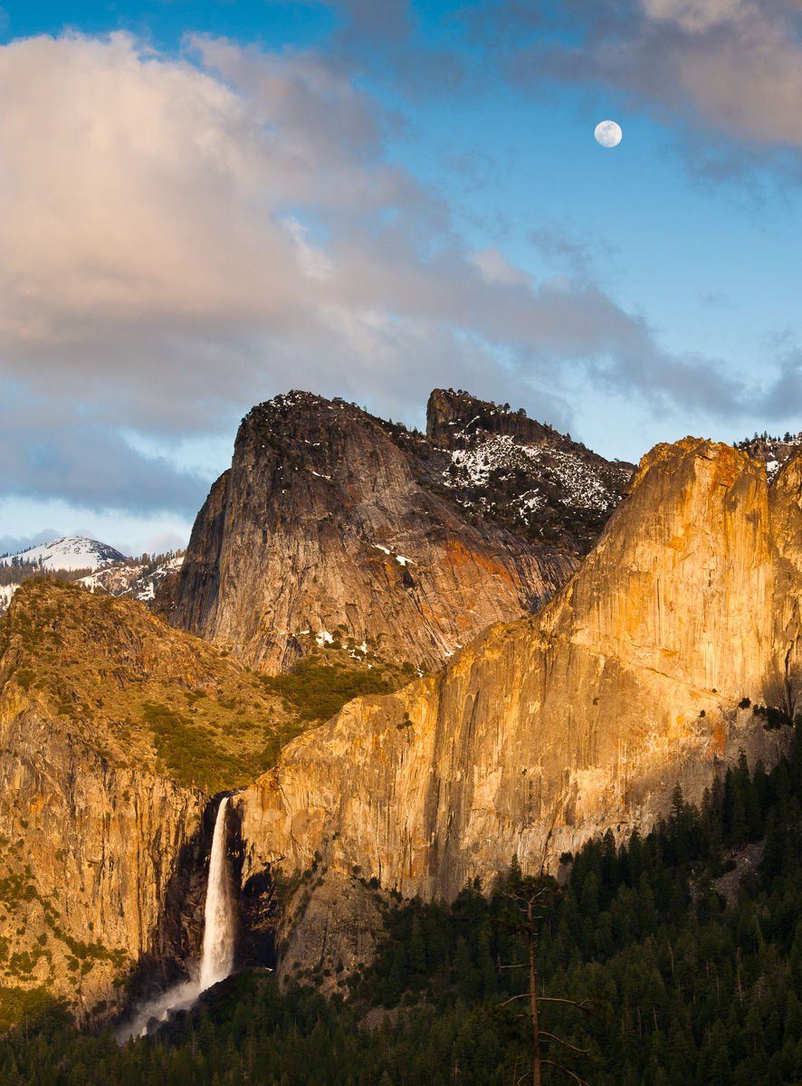 Bridalveil Falls with Full Moon