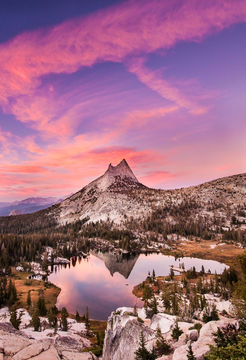 Cathedral Peak Reflected in Lake at Sunset