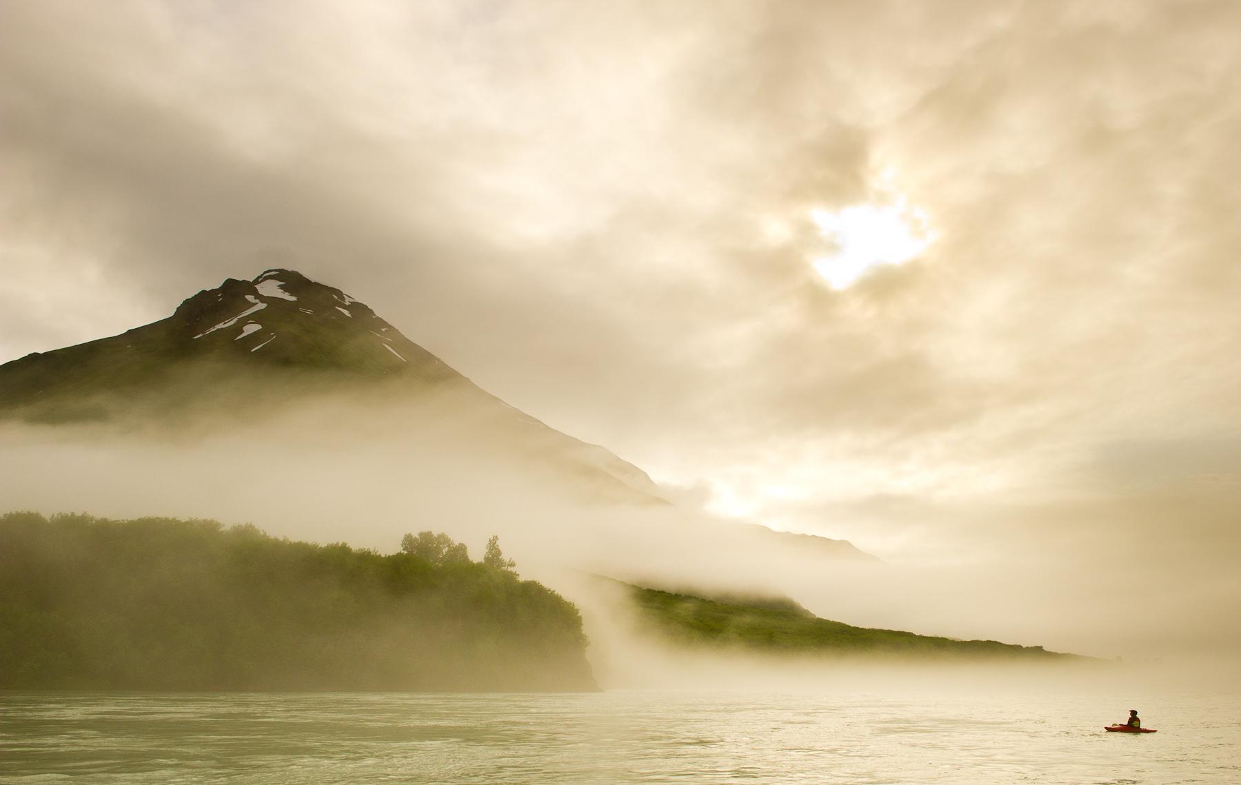Kayaker engulfed in Marine Fog on the Alsek River