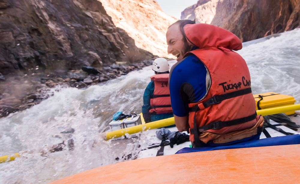 Rafters Fight Their Way through the Horn Rapid on the Colorado River