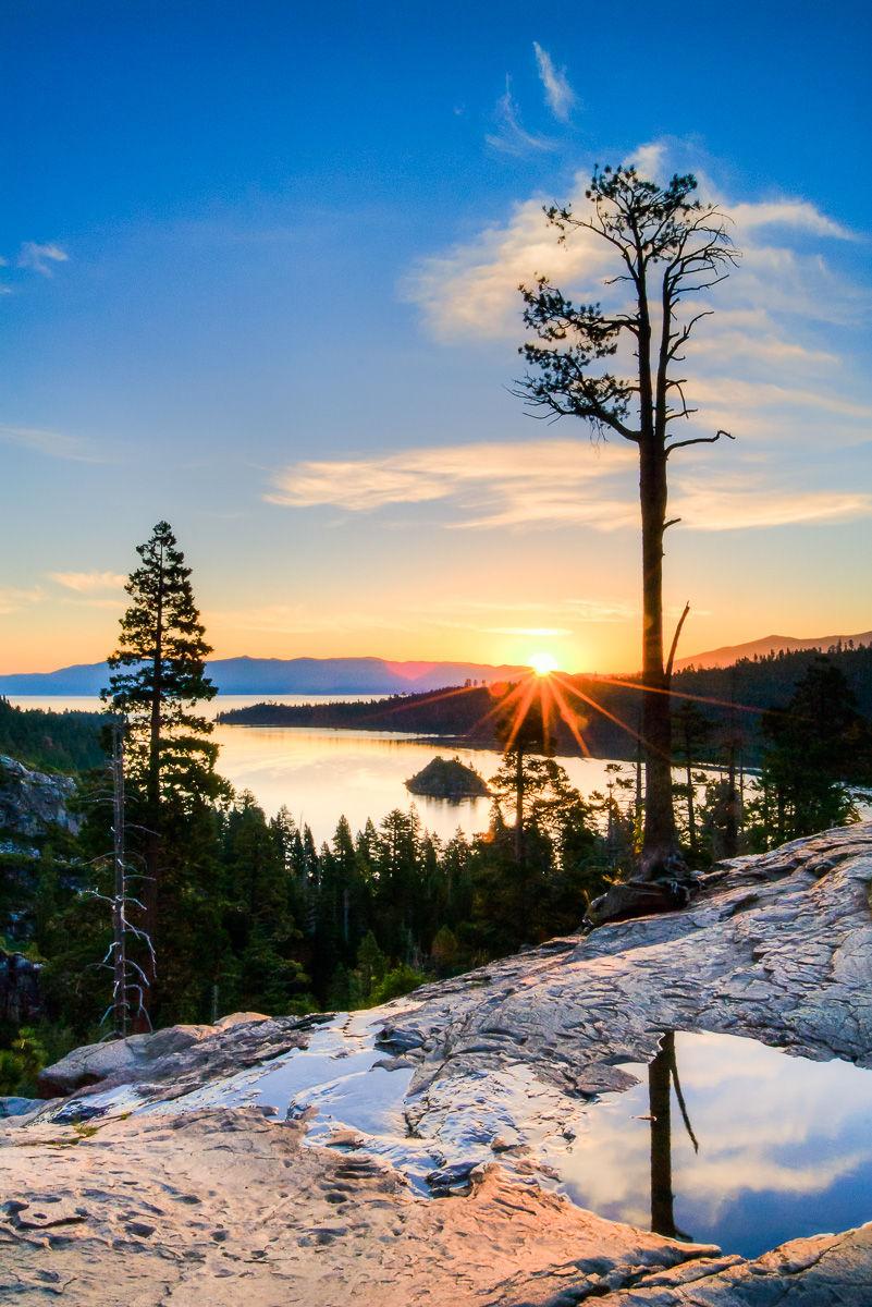 Sunrise over Emerald Bay and Eagle Falls