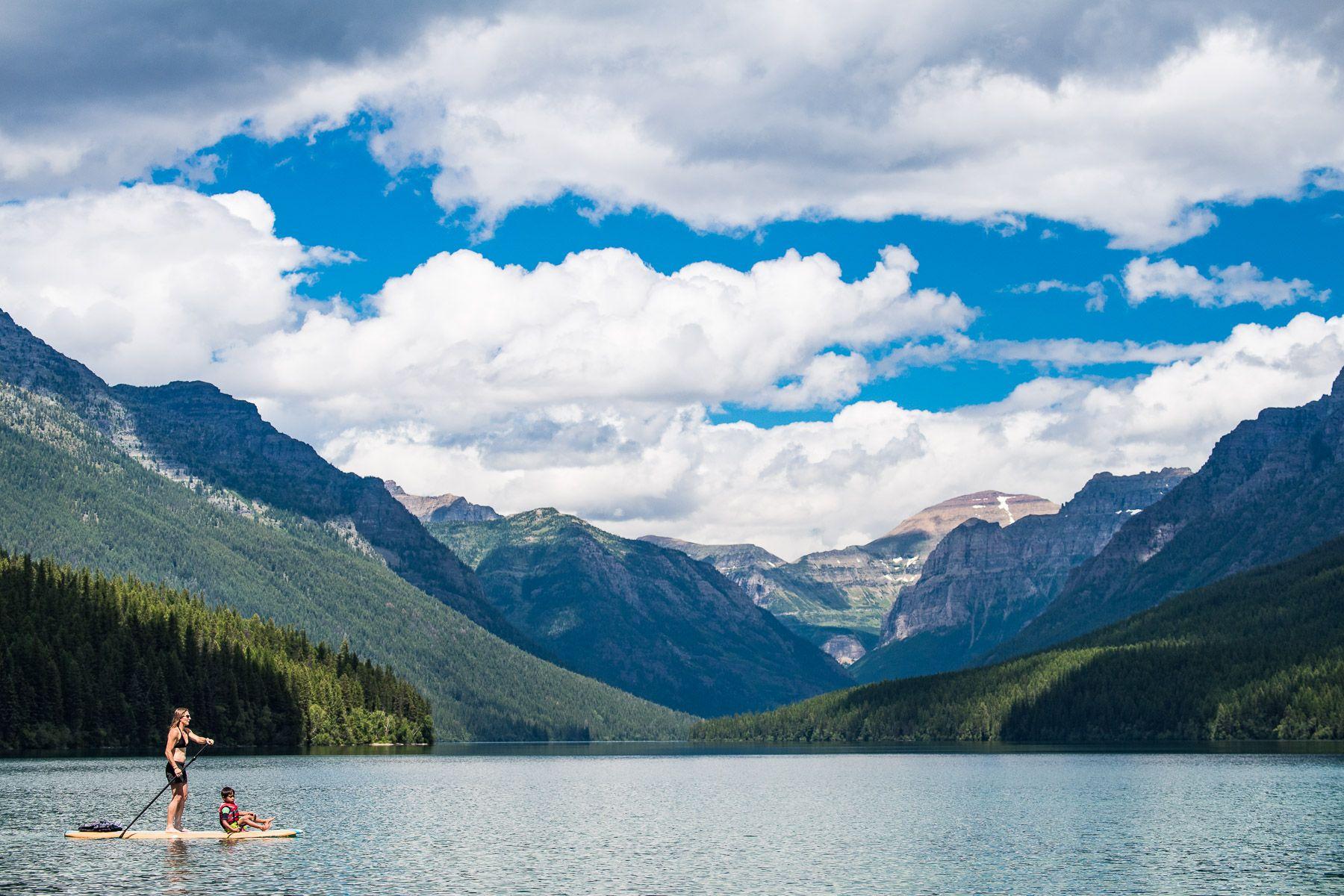 Paddle boarding in Glacier National Park
