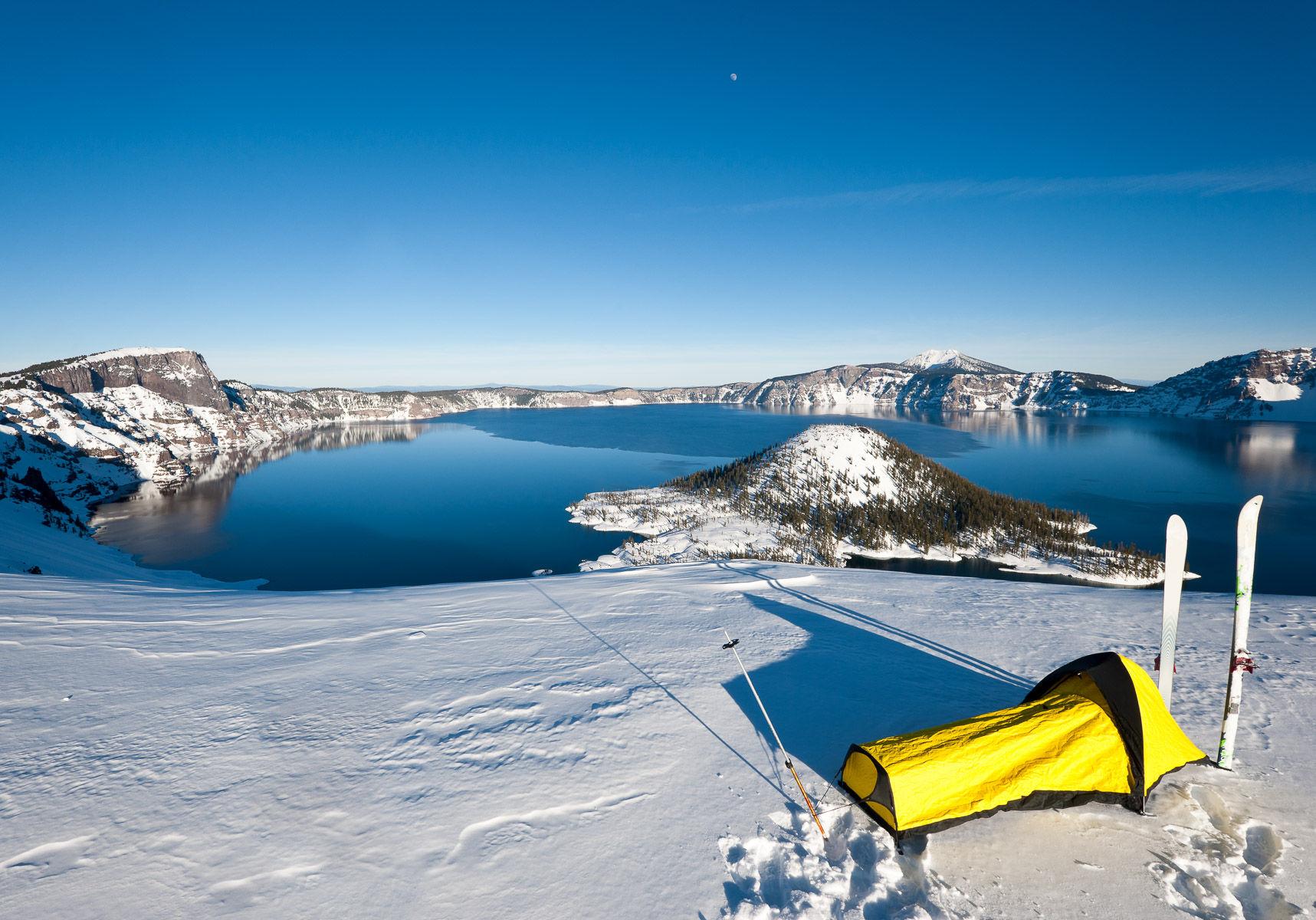 Winter Ski Camping at Crater Lake