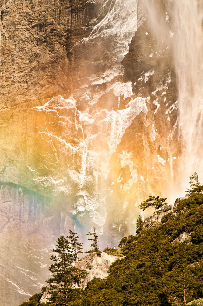 Winter Rainbow and Yosemite Falls