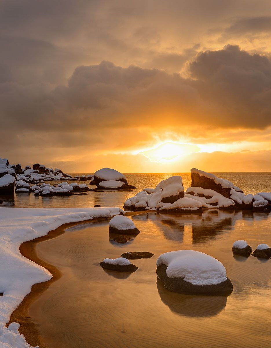 Stormy Winter Sunset over Sand Harbor