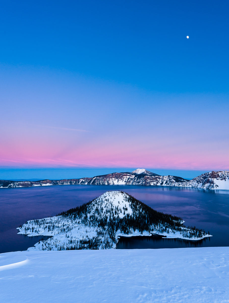 Crater Lake at Sunset with Full Moon over Wizard Island