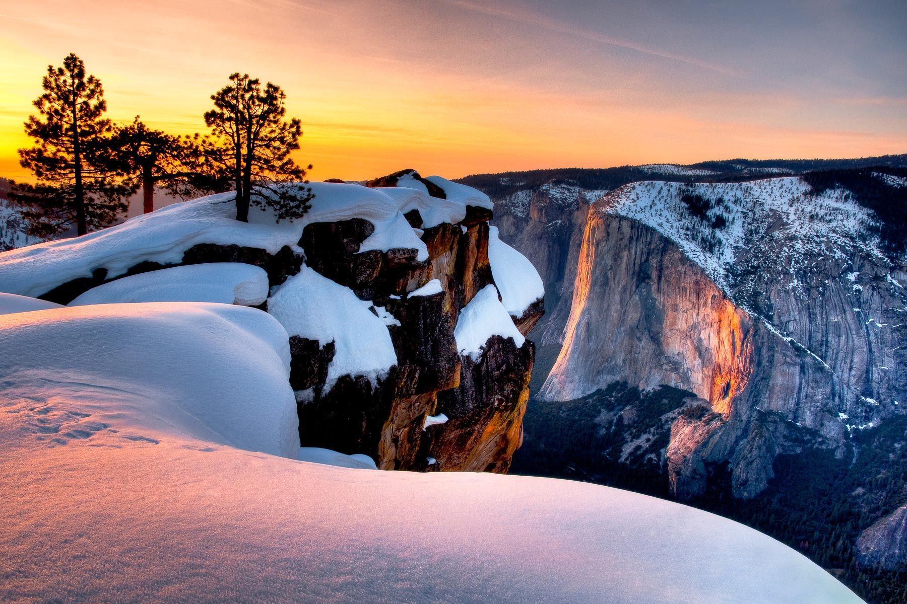 Horse Tail Falls from South Rim of Yosemite Valley