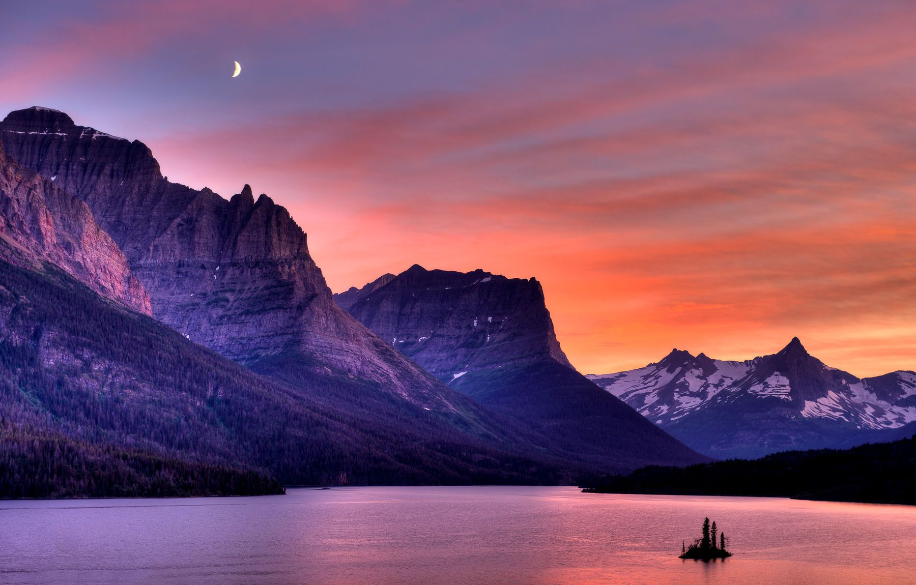 Cloudy Sunset and Moon over Saint Mary Lake