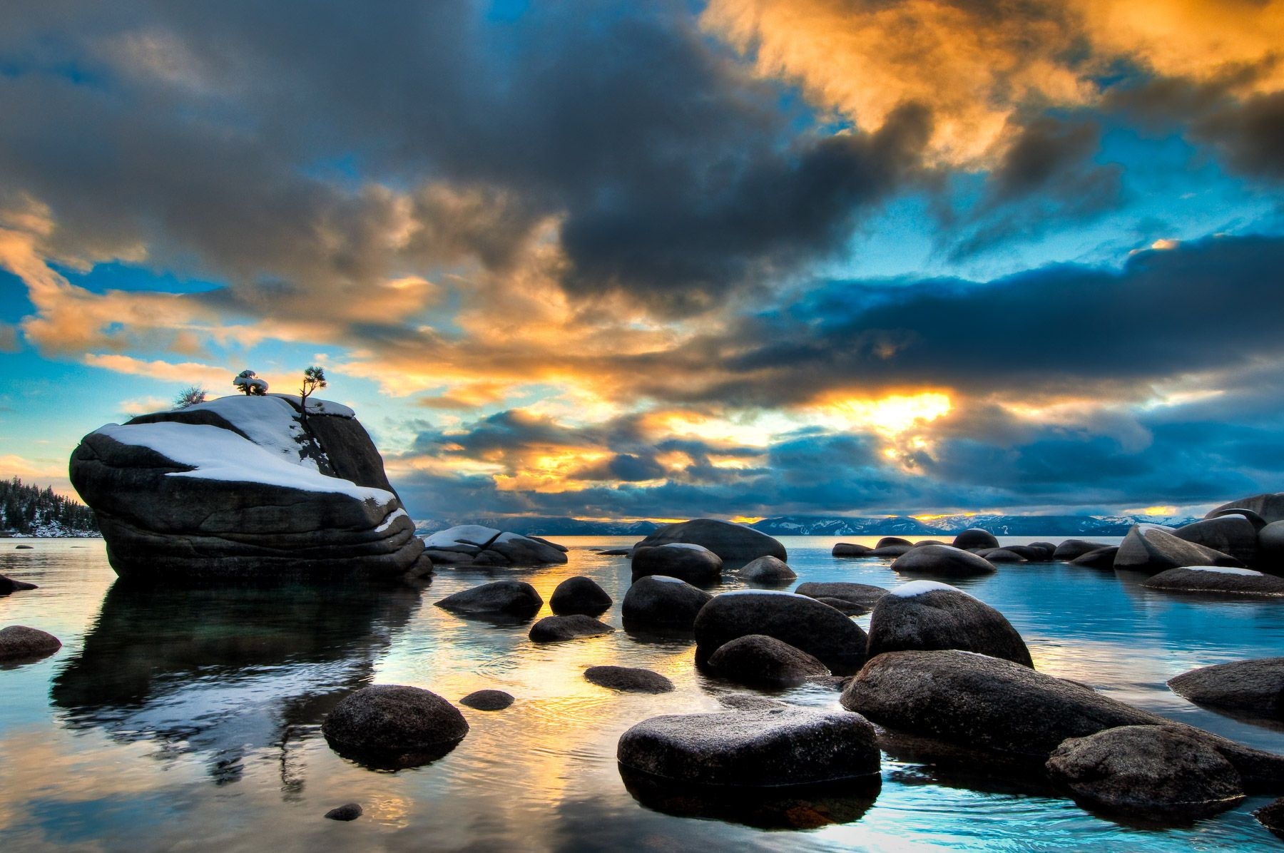 Stormy Sunset over Lake Tahoe and Bonsai Rock
