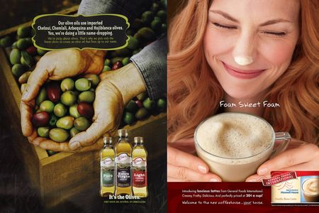 Prop Styling by Alethia Weingarten for Crisco Olive Oil and Maxwell House Coffee.  Photography by John Blais.
