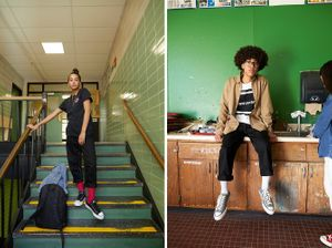 Wardrobe styling by Sarah Benge for Converse. Makeup and hair by Dianna Quagenti.