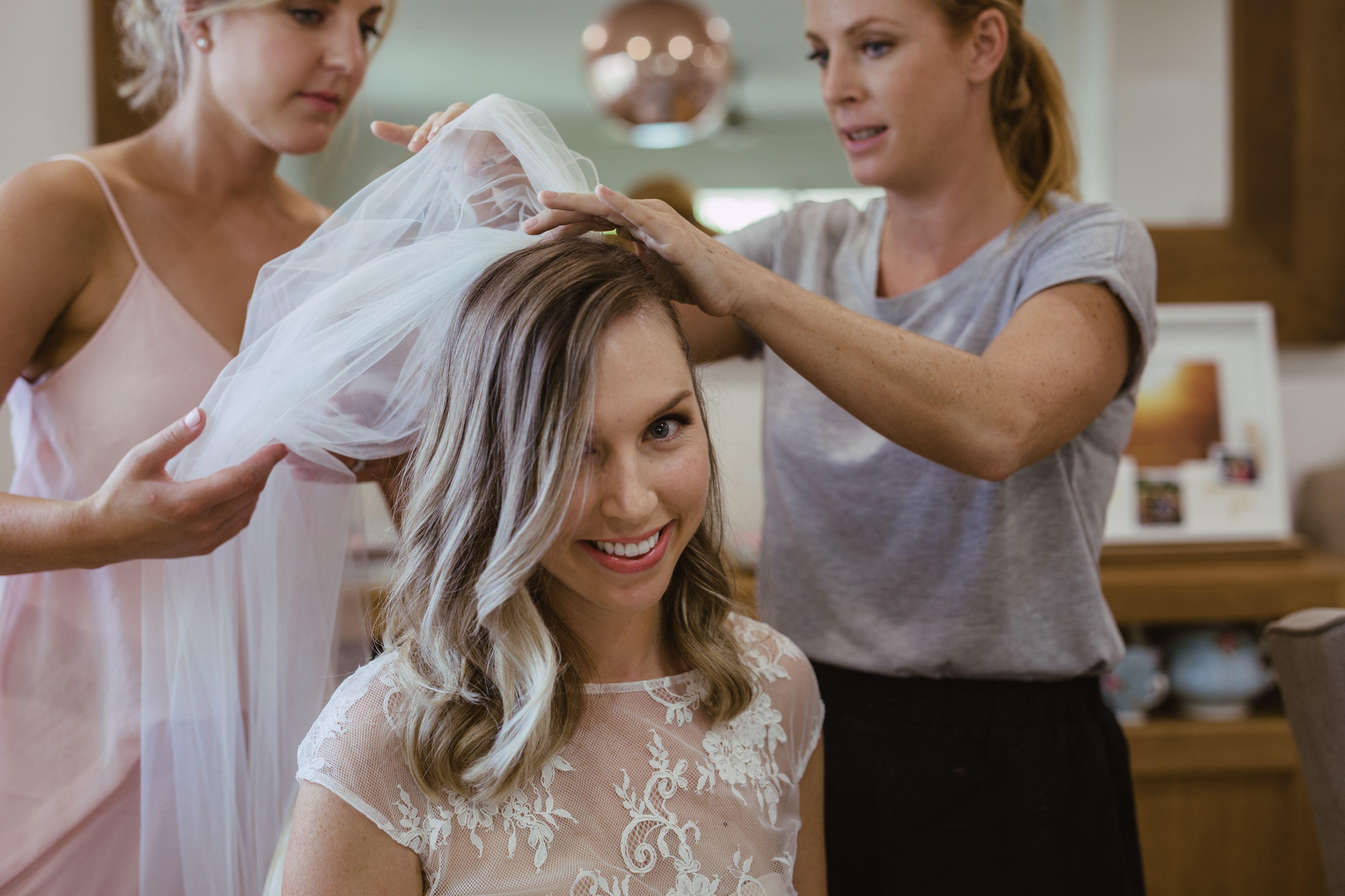 sydney makeup artist - applying the veil