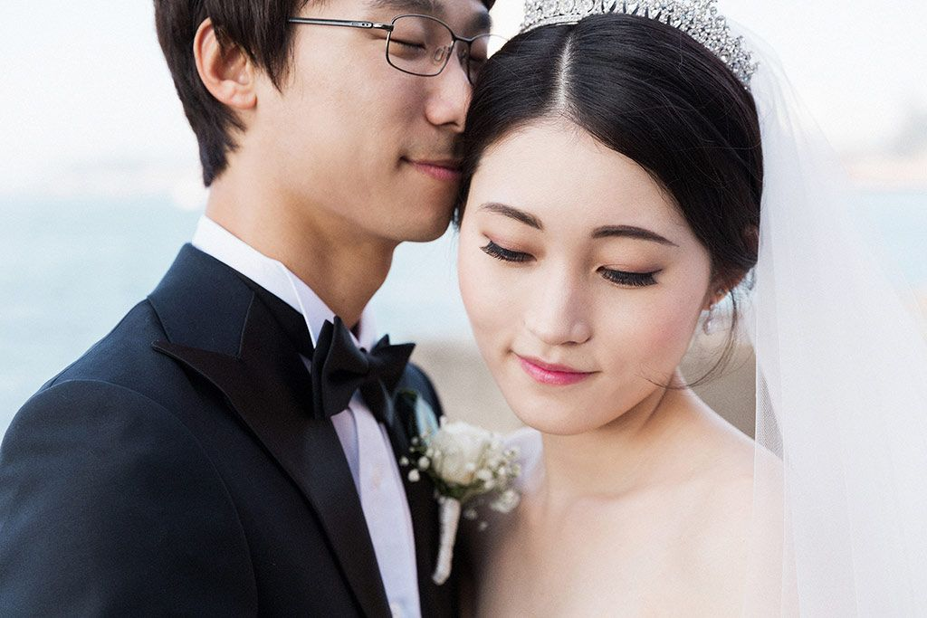 stunning korean bride, makeup on fair skin.