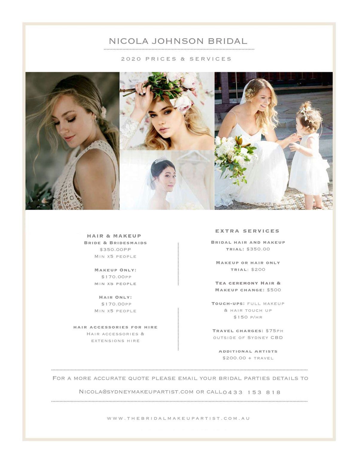 bridal makeup & bridal hair sydney