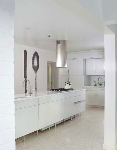 Custom kitchen with wall paper mural