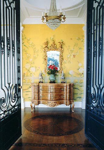 Foyer with hand painted silk wall covering