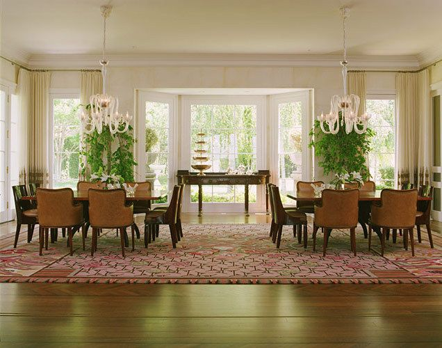 Dining room with two tables that converts to one long table.