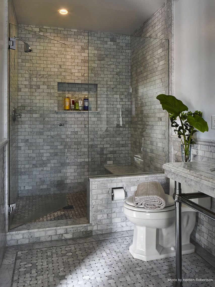 Master bath in grey marble Architect: Jeff W. Troyer