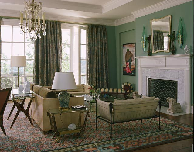 Living room in shades of aqua