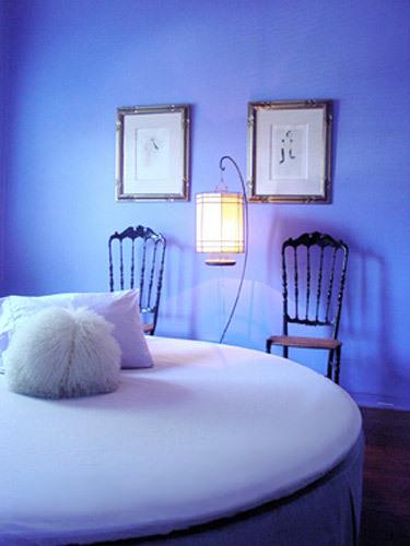 Designer's guest bedroom in periwinkle