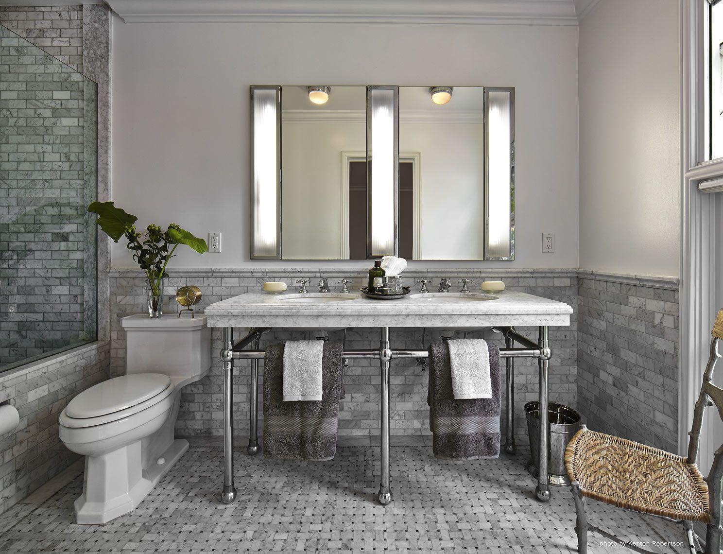 Master bath in grey marble Architect: Jeff W. Troyer