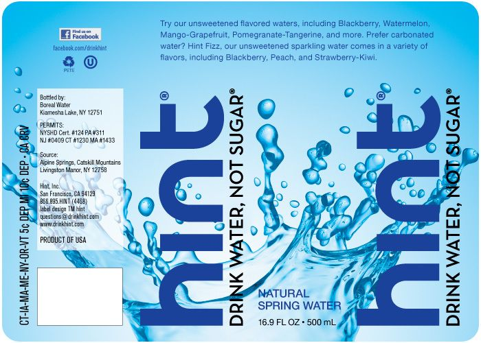 Hint Natural Spring Water Label