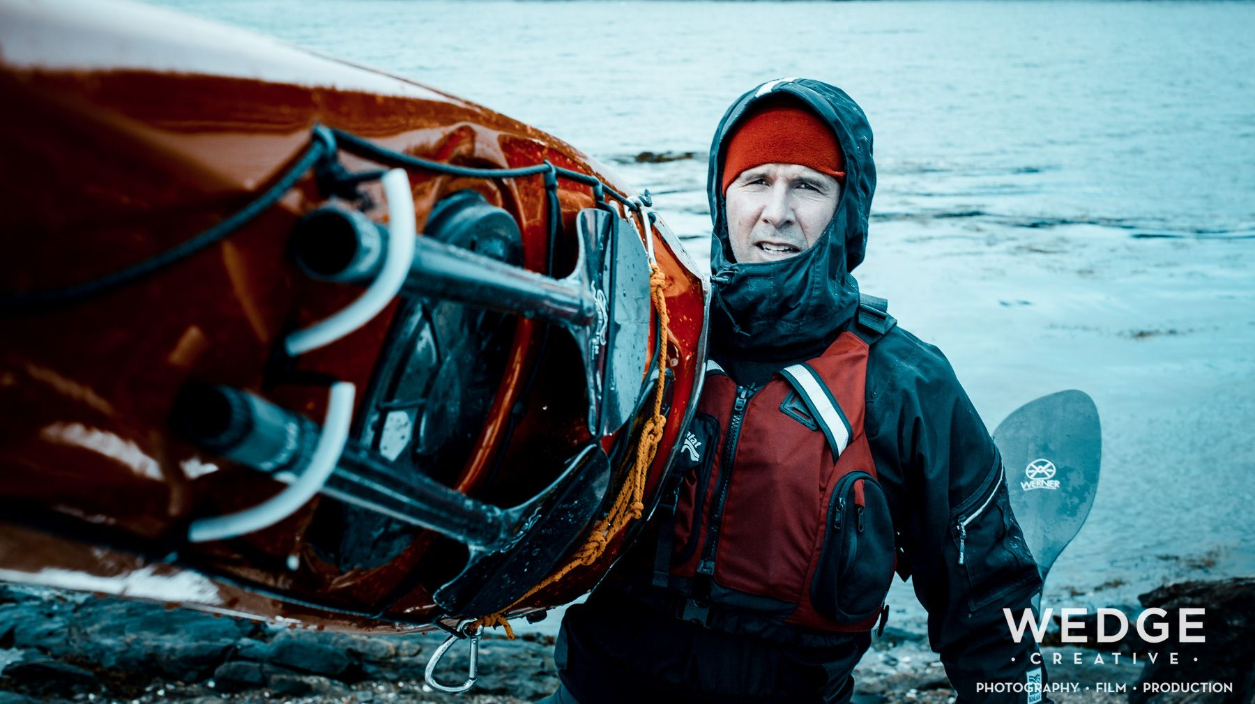 © WEDGE Creative: Photography, Film, Production: Arctic sea kayaking photo campaign with Kokatat brand paddling drysuits and PFDs.