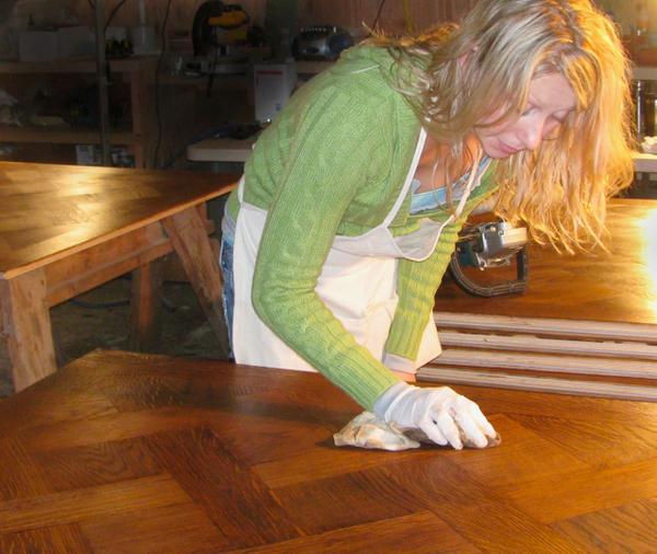 Handwork on versailles pattern floor