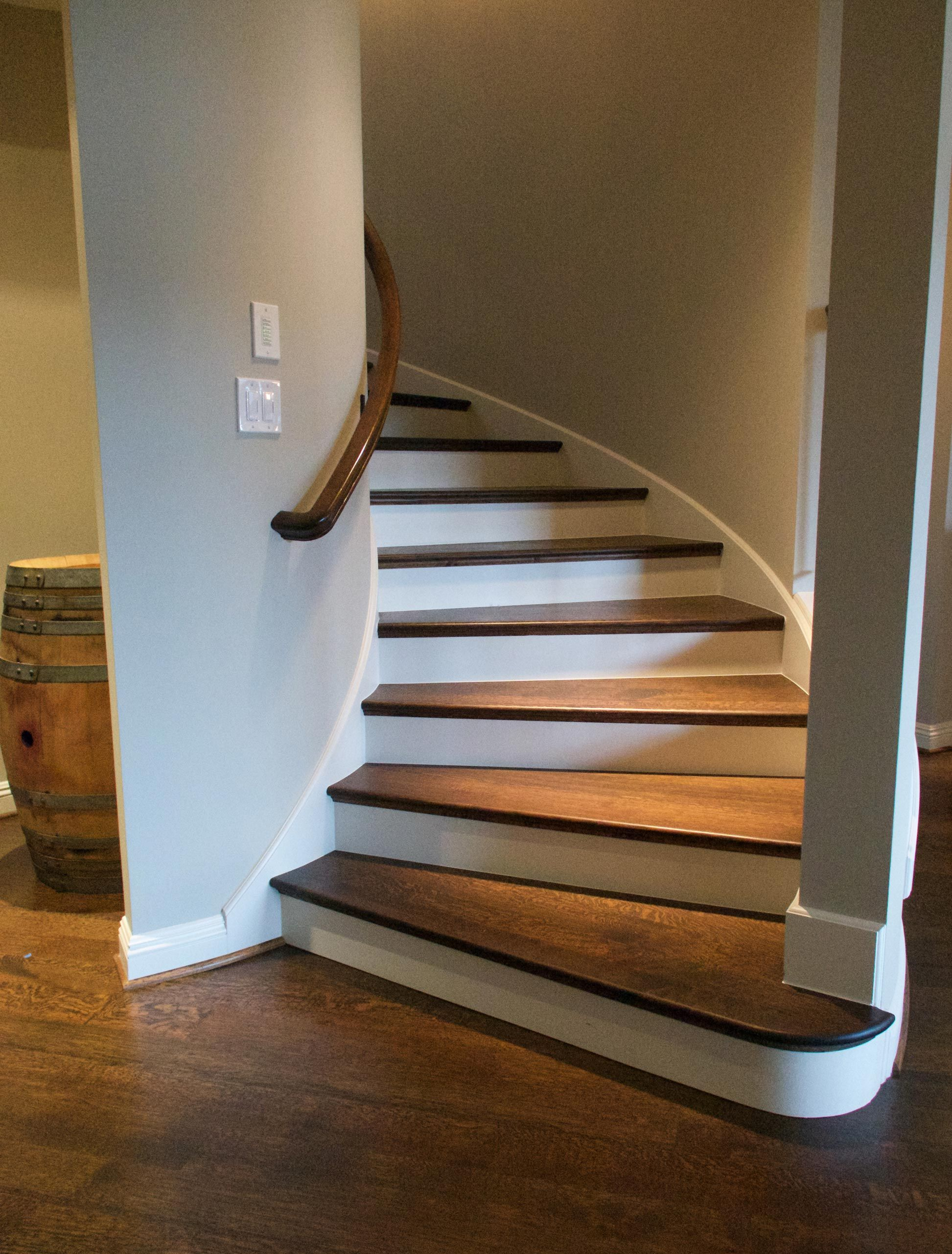 Curved rift & quartered white oak stairs