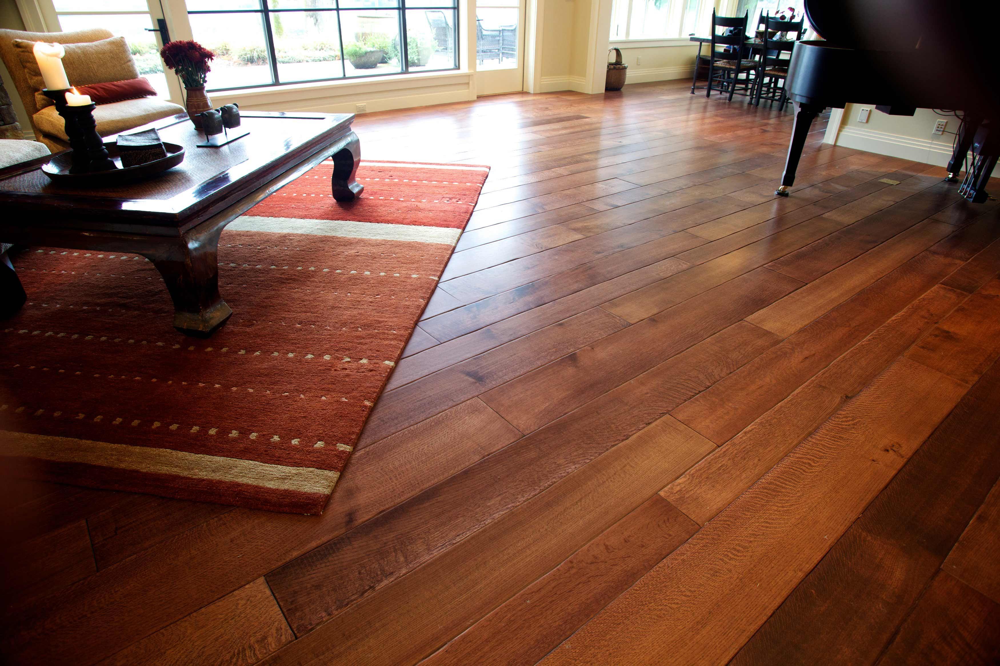 random width long length rift and quartered white oak plank flooring