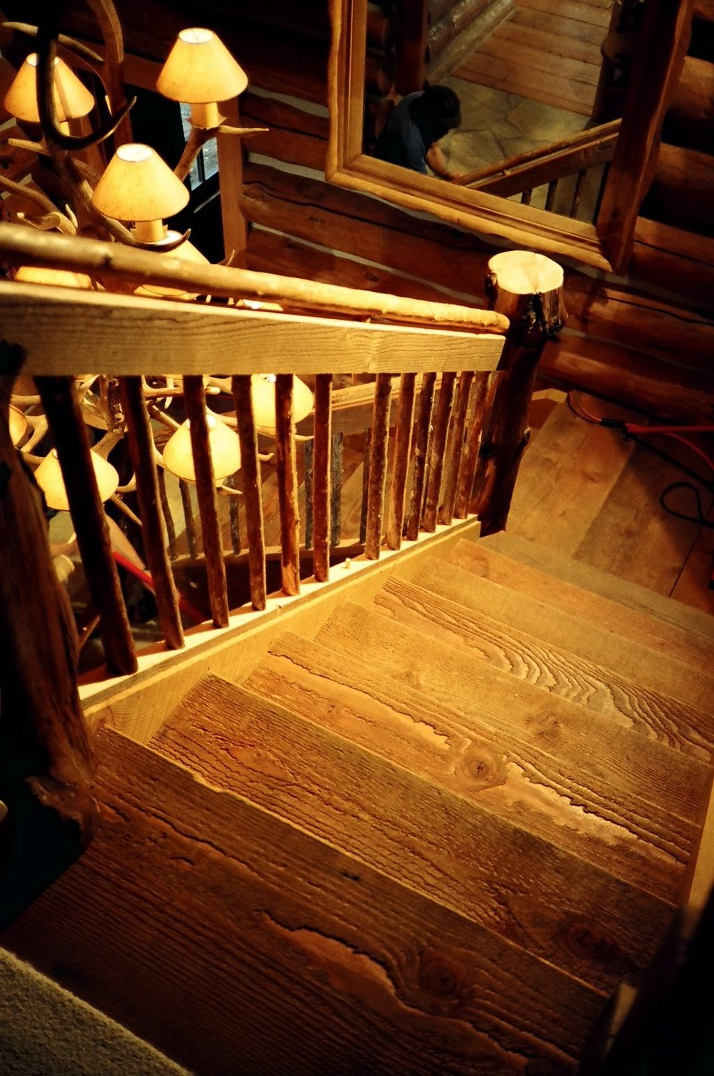Rustic rough sawn recycled fir stair
