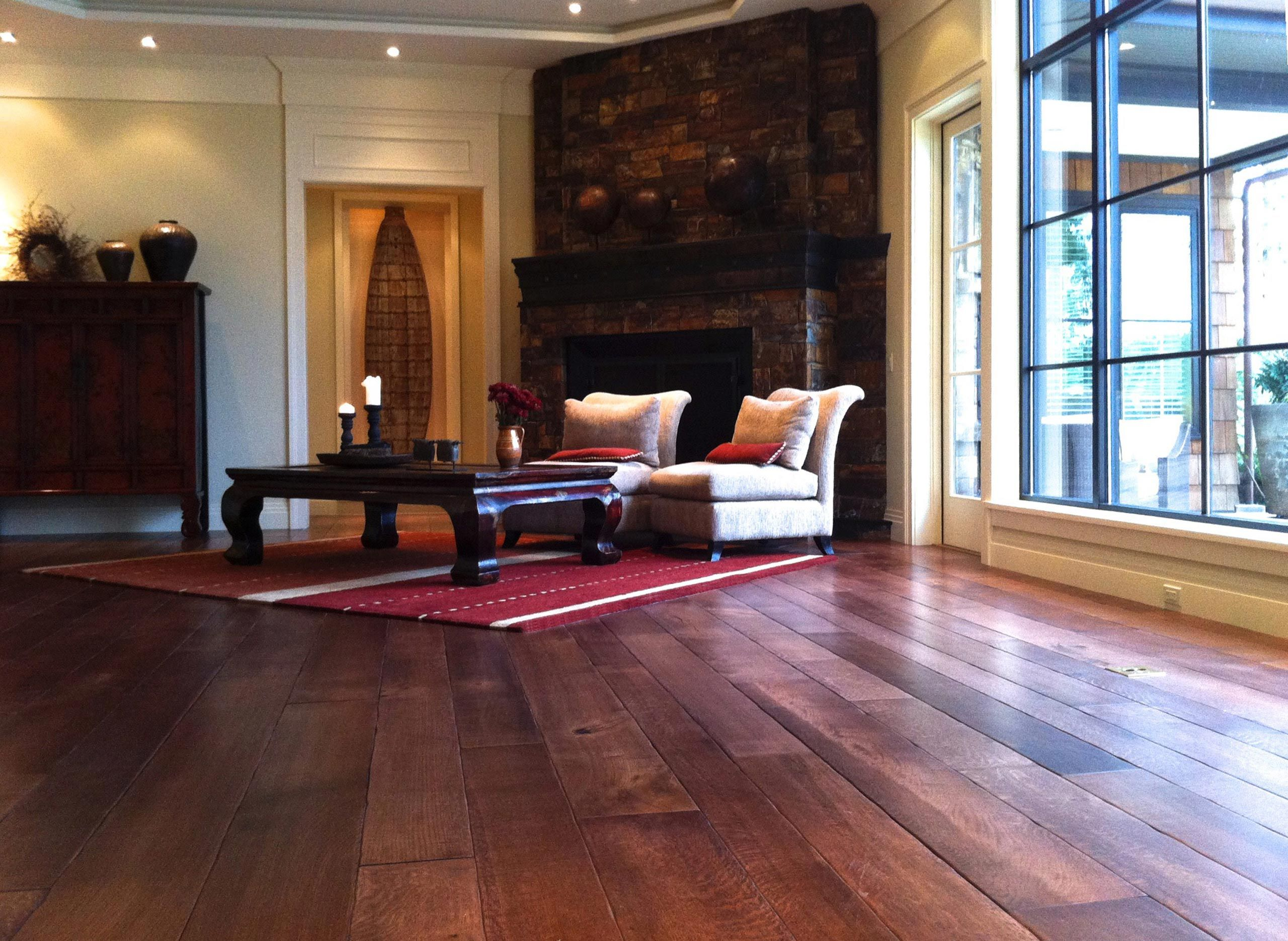 random width long length rift and quartered white oak plank flooring
