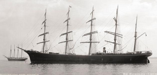 Rickmers -1906 - Vintage Sailing Art Print Restoration