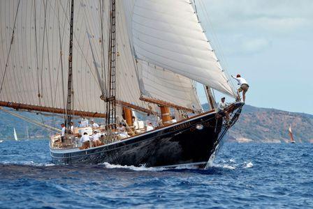 Schooner Columbia at the Antigua Classic Yacht Regatta 2016