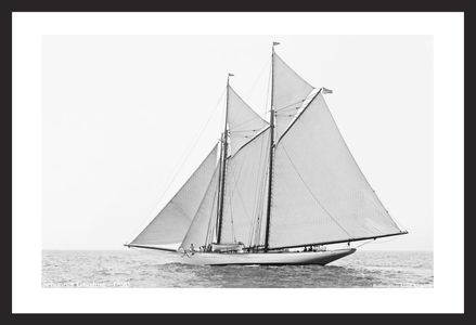 Schooner Grayling  - 1890 - Vintage sailing photography art print restoration