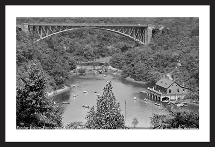 Panther Hollow Pittsburgh, PA - Early 1900's - historic black & white art print restoration
