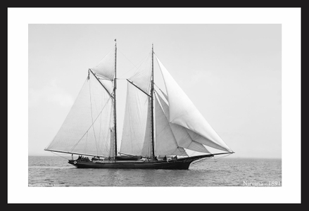Vintage Sailing art print restorations - Nirvana - 1891
