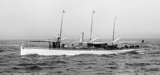 Steam Yacht Aida - c1903 - Vintage Nautical art print restoration for Interior Design