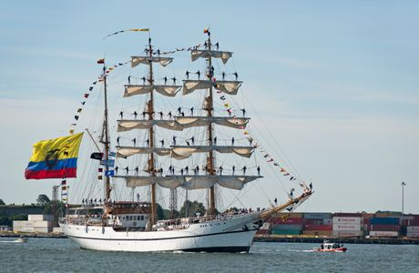Schooner Guayas of Ecuador with crew in rigging at Parade of Sail in Boston
