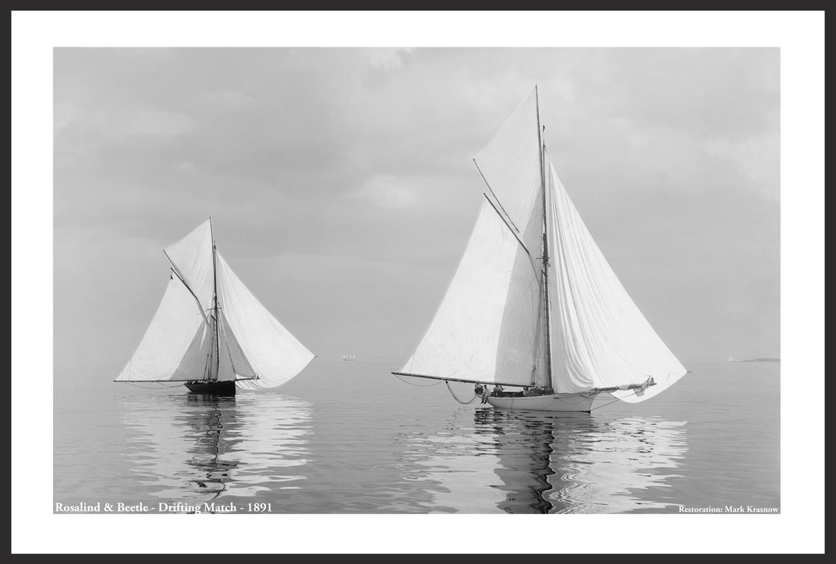 Vintage Sailboats - Rosalind and Beetle drifting match -1891