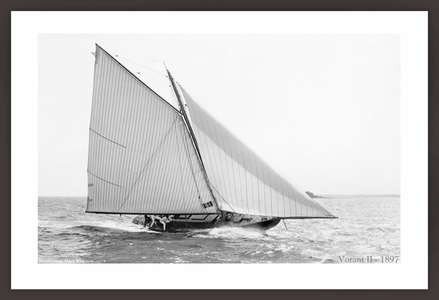 Vorant II -1897  - Vintage black & white sailing photography art print  print restoration